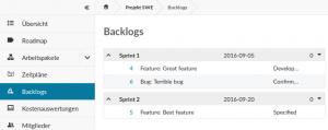 Backlog Funktionen bei OpenProject